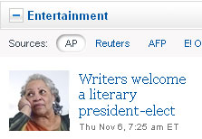 Screencap from Yahoo! front page, 11-6-2008 | NewsBusters.org