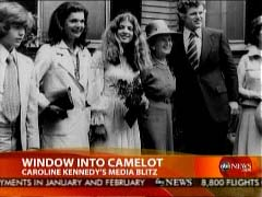Screen capture of old Kennedy family photo, including Jacqueline Kennedy, Caroline Kennedy, & Ted Kennedy | NewsBusters.org