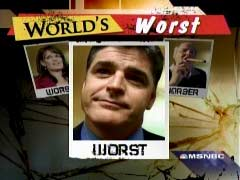 Countdown with Keith Olbermann graphic of Hannity as 'Worst Person in the World' | NewsBusters.org