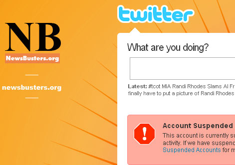 screencap of suspended NewsBusters Twitter account page | July 10, 2009