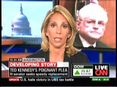 Dana Bash, CNN Correspondent; & file photo of Senator Ted Kennedy | NewsBusters.org