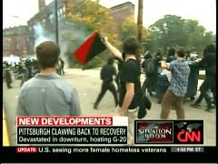 Video Still of Anarchists' Protests at G-20 Summit in Pittsburg, September 2009 | Newsbusters.org