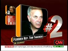 Tom Tancredo, former Colorado Representative, Republican; CNN Graphic from 5 February 2010 Rick's List program | NewsBusters.org