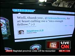 Screen cap of Matthew Balan's Twitter page, from 19 April 2010 CNN's Rick's List program | NewsBusters.org