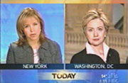 Katie Couric interviewing Sen. Hillary Clinton