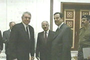 CBS's Dan Rather with Saddam Hussein