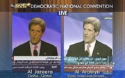 John Kerry being broadcast on Al-Jazeera & Al-Arabiya
