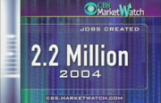 CBS on-screen graphic: 2.2 Million jobs created in 2004
