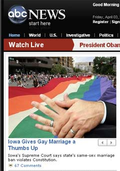 NewsBusters.org | Screencap of ABCNews.com from April 2, 2009