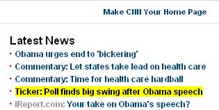 Screen cap from CNN.com on 10 September 2009 | NewsBusters.org