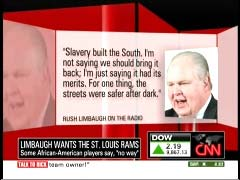 Limbaugh quote graphic from 12 October 2009 edition of CNN's Newsroom | Newsbusters.org