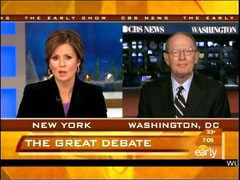 Maggie Rodriguez and Lamar Alexander, CBS