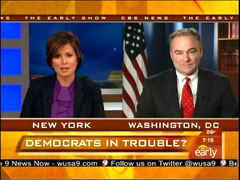 Maggie Rodriguez and Tim Kaine, CBS