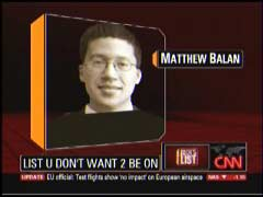 Matthew Balan, NewsBusters Contributing Writer, screen cap from 19 April 2010 CNN's Rick's List | NewsBusters.org