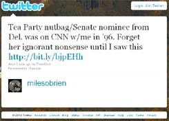 Screen Capture of Miles O'Brien's Tweet on 15 September 2010 | NewsBusters.org